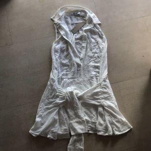White sleeveless shirt dress with front Tie